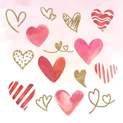 Set d'illustration aquarelle icônes coeur