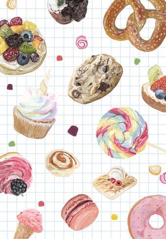 Colección de dulces dibujados a mano estilo acuarela.