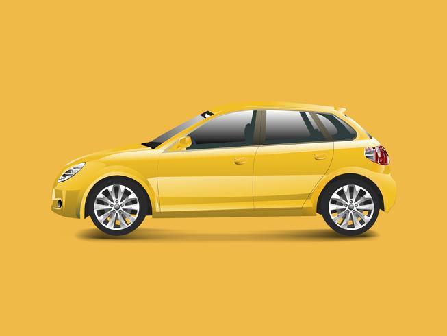 Gul hatchback bil i en gul bakgrund vektor