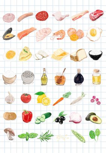 Hand gezeichnete Lebensmittelbestandteil-Aquarellart