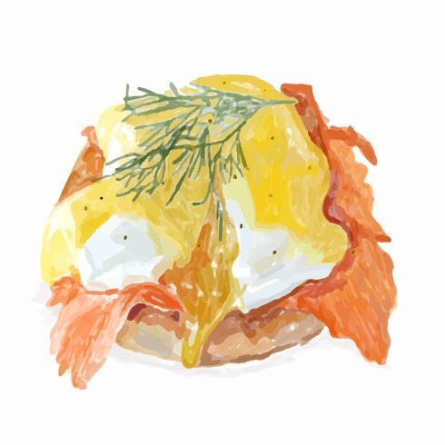 Disegnata a mano uova benedetto stile acquerello