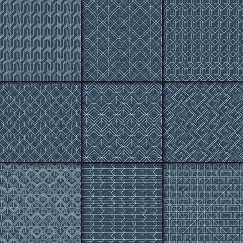 Indigo gebatikte geometrische patrooncollectie