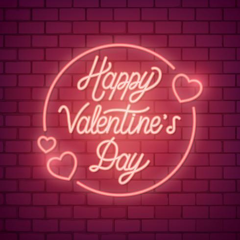 Neon valentins dag illustration