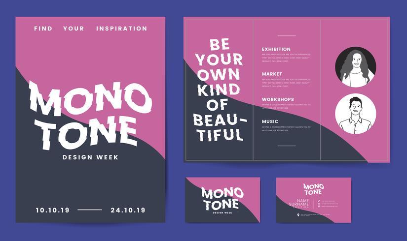 Folheto, cartazes e modelo de cartão de visita