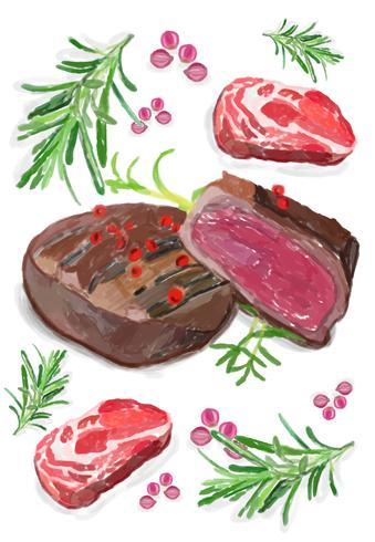 Hand getekend steak aquarel stijl