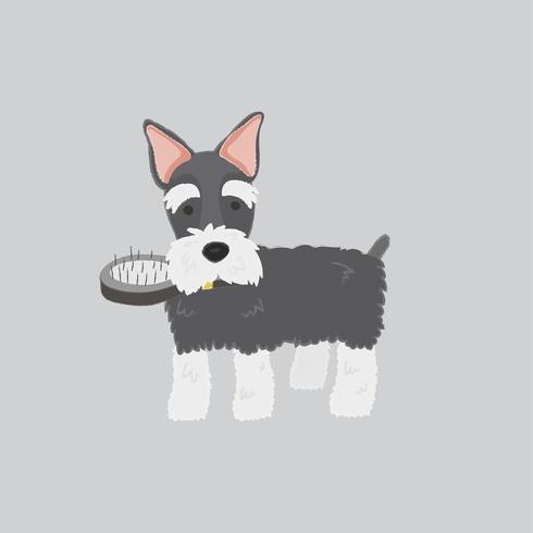 Gullig illustration av en schnauzerhund