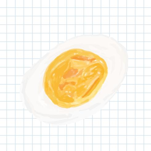 Hand drawn cooked egg watercolor style