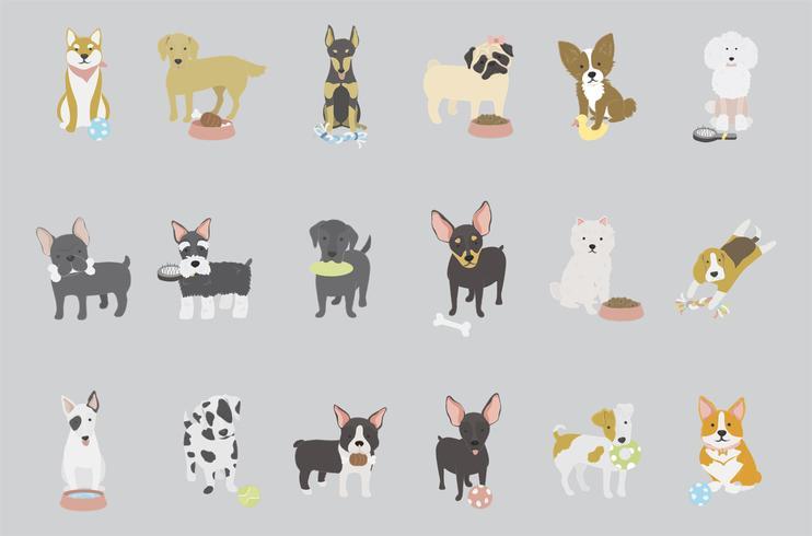 Vecteur de collection de race de chien