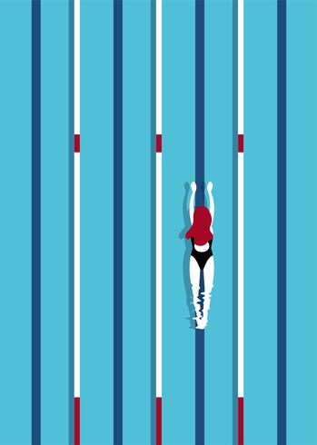 Flygfoto över en simbassäng