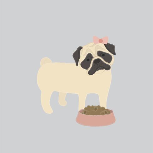 Ilustração fofa de um cão pug