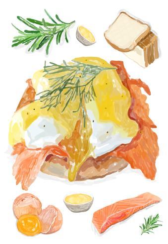 Hand getrokken eieren Benedict aquarel stijl