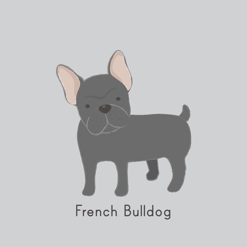Gullig illustration av en fransk bulldogg