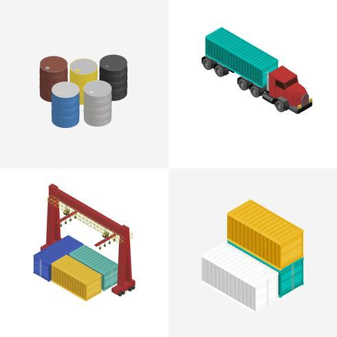 Industrielle lokalisierte Ikone des Logistikgeschäfts auf Hintergrund