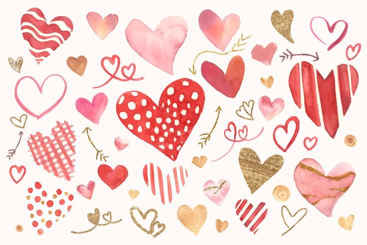Conjunto de aquarela de ícone de dia dos namorados