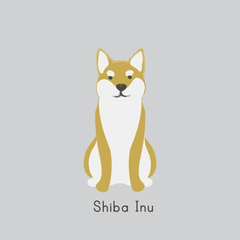 Cute illustration of a shiba inu dog