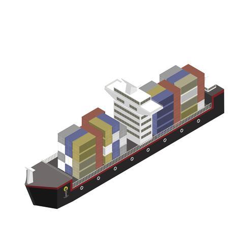 Contenitore su una nave isolato su sfondo