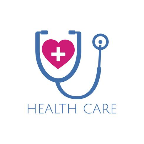 Blue and pink heart checkup health care vector