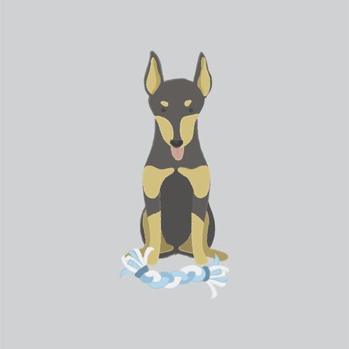 Illustrazione sveglia di un cane del doberman