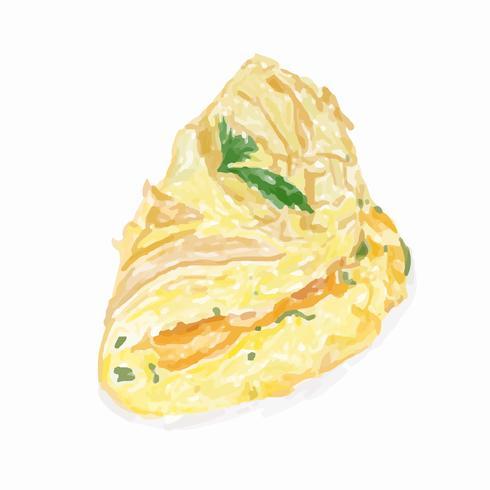 Hand getekend omelet aquarel stijl