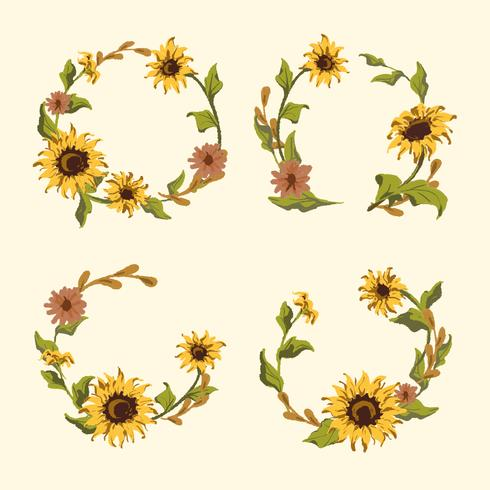 Sunflower wreath and badge vector set
