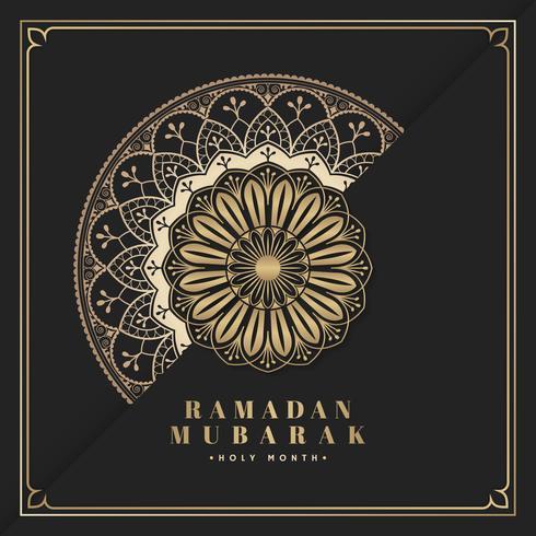 Schwarzes und Gold-Eid Mubarak-Postkartenvektor