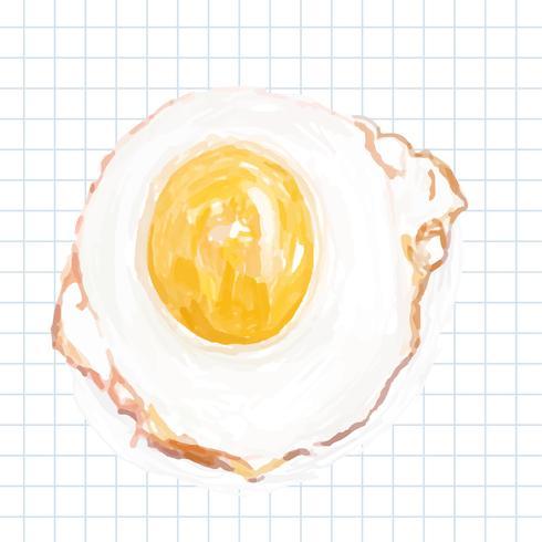 Disegnato a mano stile acquerello uovo cucinato