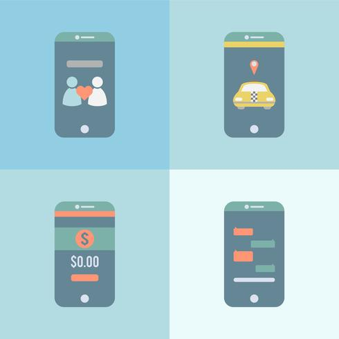 Conjunto de diferentes aplicaciones gráficas en el móvil.