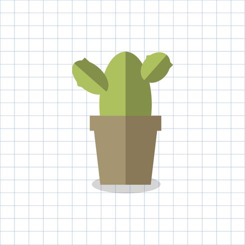 Cactus, plante, vecteur, pot