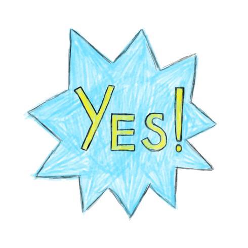Illustration de l'icône de mot oui dessiné à la main isolé sur fond blanc