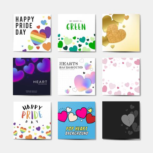 Heart background illustration set