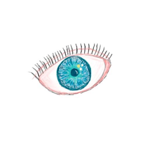 Illustration de l'icône d'oeil dessiné à la main isolé sur fond blanc