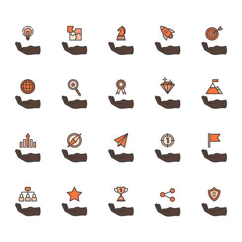 Illustration du jeu d'icônes de réalisation entreprise