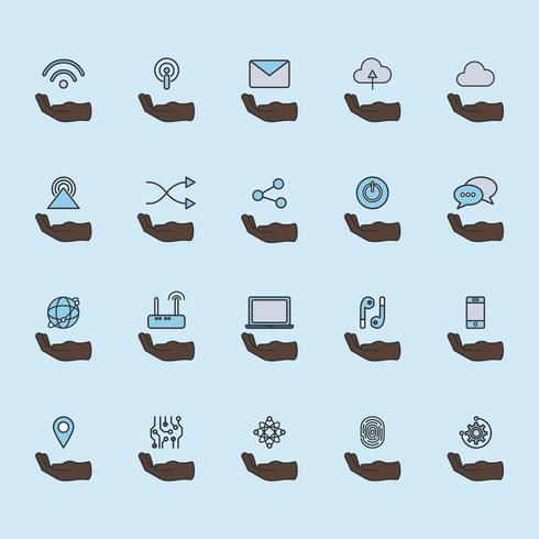 Ilustración de conjunto de iconos de red en línea