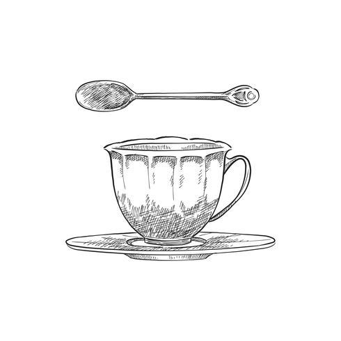 Illustrazione d'epoca di un bicchier e cucchiaino