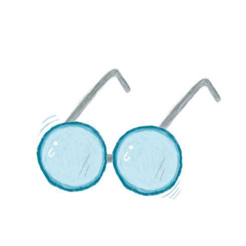 Illustration of hand drawn eyeglasses icon isolated on white background