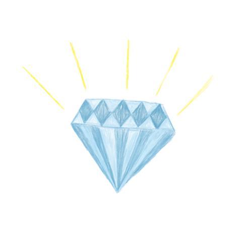 Illustration der Hand gezeichneten Diamantikone lokalisiert auf weißem Hintergrund