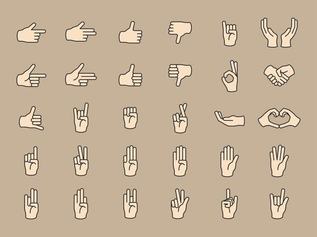 Ilustração do gesto de mãos definido em linha fina