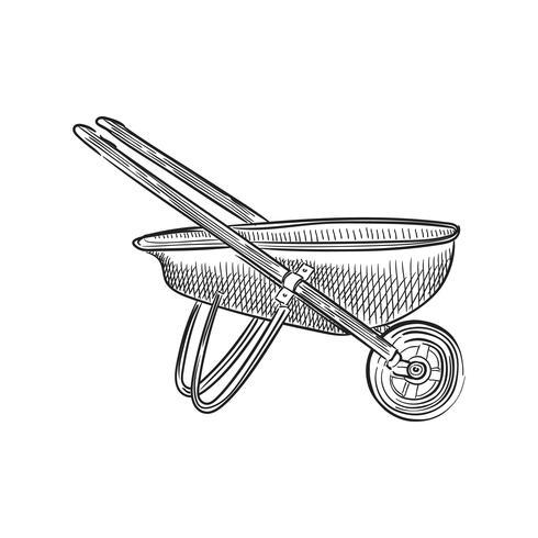 Vindima, ilustração, de, um, carrinho de mão
