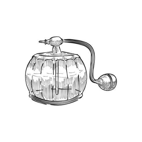 Tappning illustration av en parfume flaska