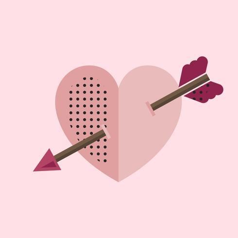 Coeur rose avec une icône de flèche de Cupidon
