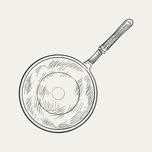 Vintage illustration av en saute pan