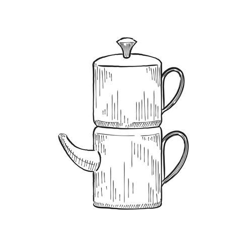Illustration vintage d'une cafetière
