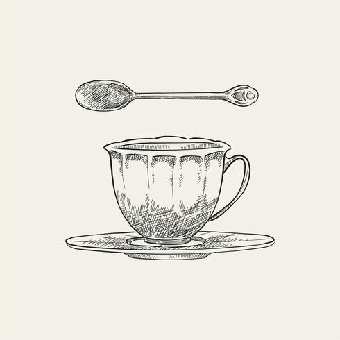 Tappning illustration av en teacup och tesked
