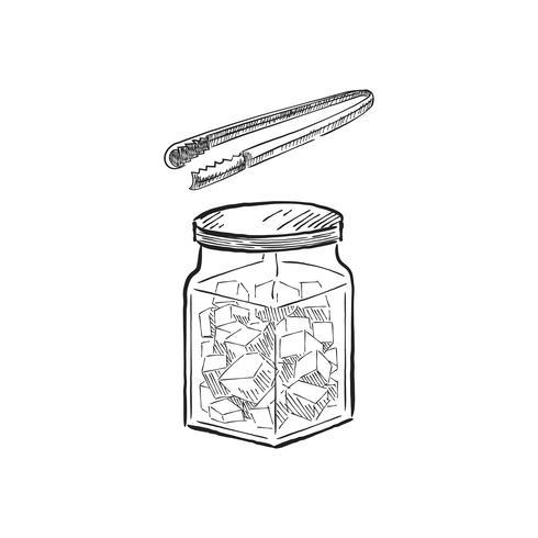 Vintage illustratie van een pot met suikerkubussen