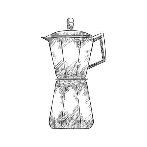 Weinleseillustration einer Kaffeemaschine