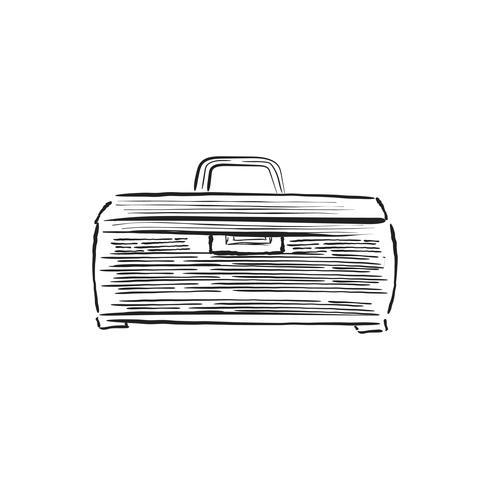 Vintage illustration of a fishing tackle box
