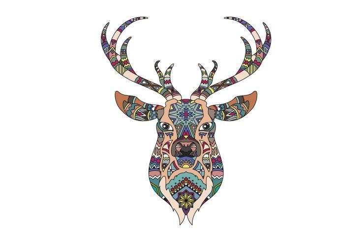 Intricato modello di colorazione di una testa di renna