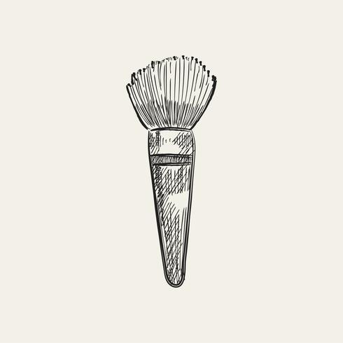 Vintage illustration av en sminkborste