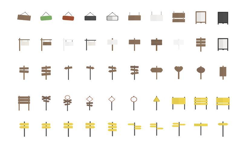 Ilustración de conjunto de vectores de signo en blanco