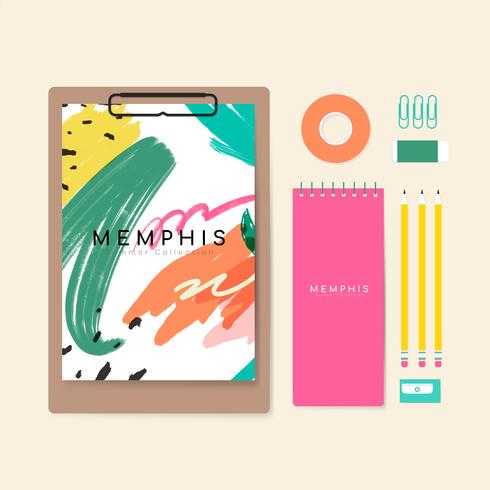 Memphis summer stationery illustration